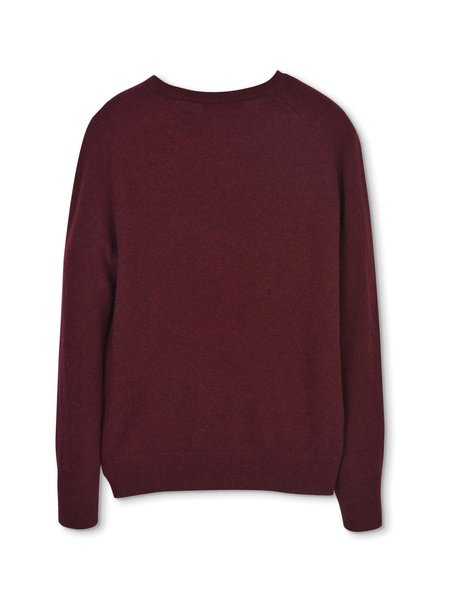 PURECASHMERE NYC Classic Crew Neck Sweater - Burgundy