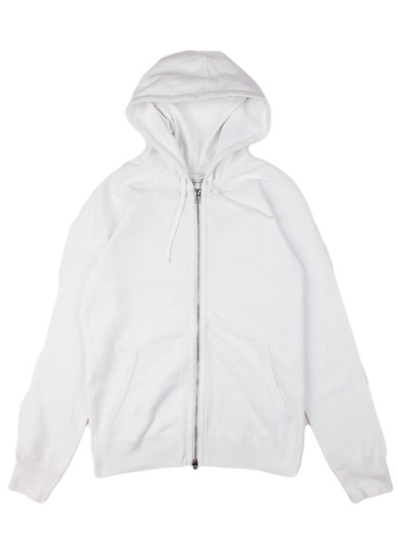 Reigning Champ Twill Jersey Full Zip Hoodie White