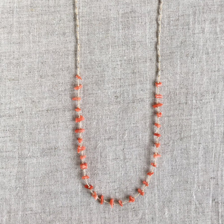 see real flowers coral desert necklace