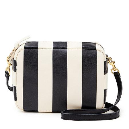 Clare V. Midi Sac - Black/Cream Stripe