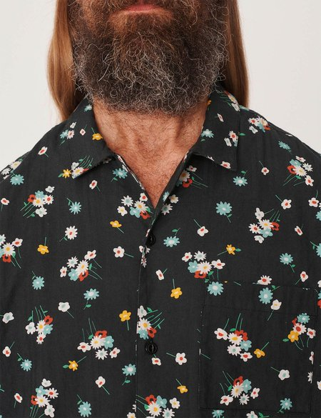 YMC Malick Shirt - Floral Seersucker Black
