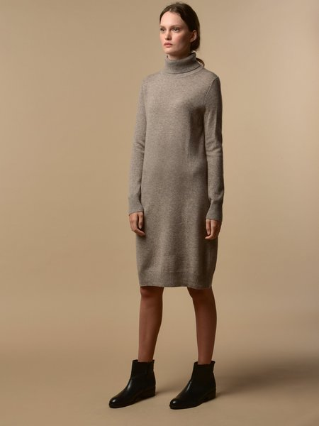 PURECASHMERE NYC Turtleneck Dress - Beige