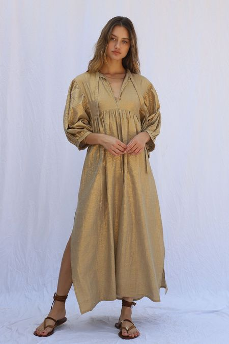 Jen's Pirate Booty High Desert Medellin Dress - Gold Stripe Yucca