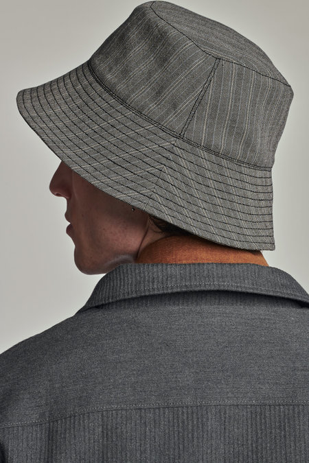 Delikatessen Italian Structural Crepe Bucket Hat - Grey/Blue Stripe