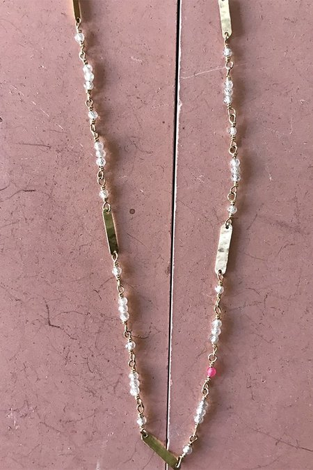 Cobamae White Zircon Baguette Necklace