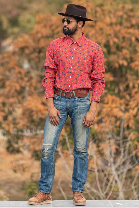 Dushyant Asthana The Barrington Long Sleeves Shirt - Maroon Floral Print