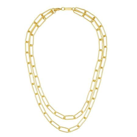Machete Paperclip Chain Layered Necklace - Gold