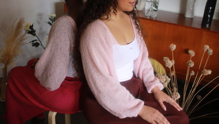 Pearle Knits Angel Wings top - Pink Mohair