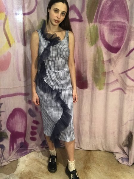 Vintage Calvin Luo Gingham Dress - Bright Blue/Navy