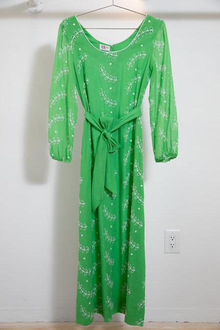 Vintage R+K Originals Dress - lime green/White