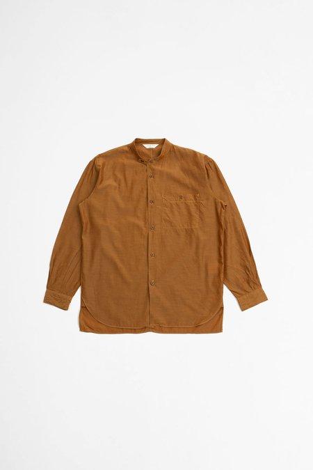 Still By Hand Band Collar Shirt -  Brown