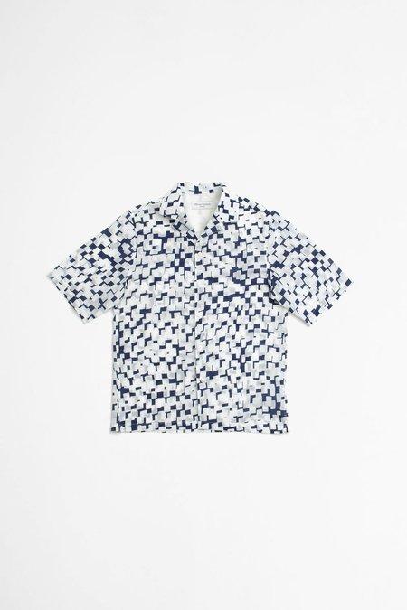 Officine Generale Eren Shirt - Geometric Print Blue/White