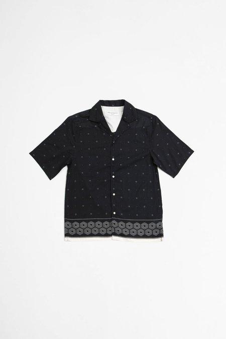 Officine Generale Eren Shirt - Placed Print  Navy/Ecru