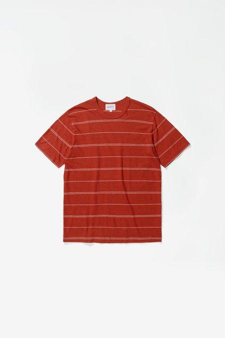 Norse Projects Joakim Cotton/Linen Fine Stripe Tshirt - Burnt Havtorn