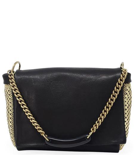 Laura B Maily  Leather Handbag - Black/Gold