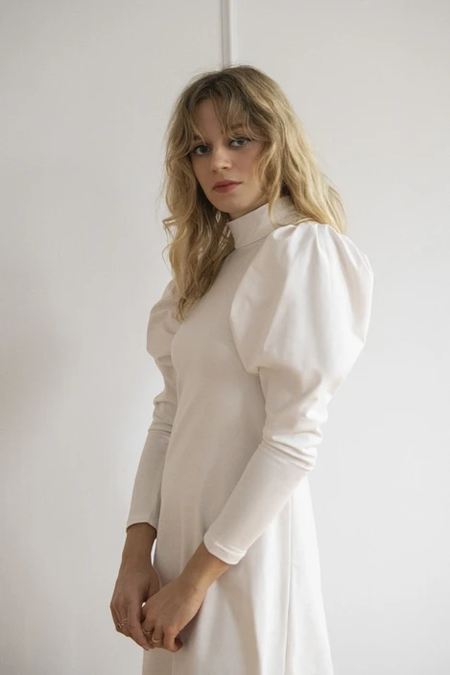 Rightful Owner la creme puff sleeve dress - white