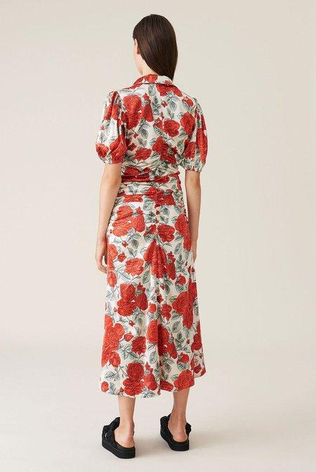Ganni Silk Stretch Satin Dress - Multi