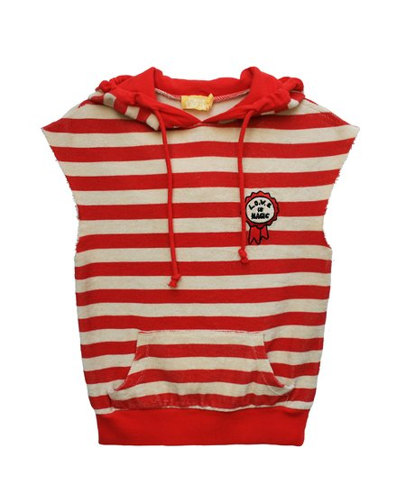 kids Bandy Button Tama Sweat - red/ecru