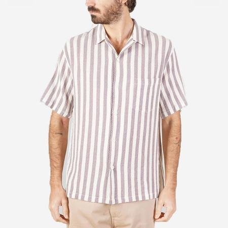 Portuguese Flannel Lavanda Short-Sleeve Vacation Shirt - Lavender Stripe