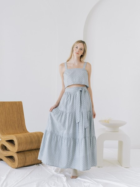 LAUDE the Label Tiered Maxi Skirt - Indigo Block Print