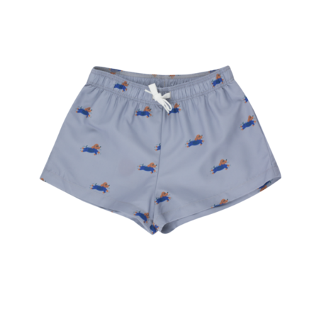 kids Tinycottons Doggy Paddle Swim Trunks - blue