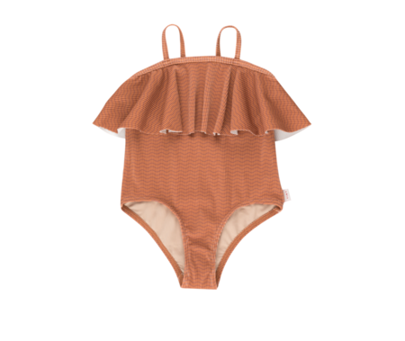 kids Tinycottons Waves Straps Swimsuit - Cinnamon
