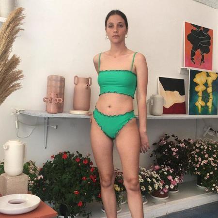 Sherris Ruffle Tank Bikini Top - Green Multi