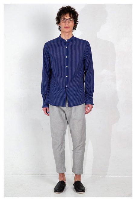 Graphia New York Band Collar Long Sleeve Shirt - Blue/White Stripe