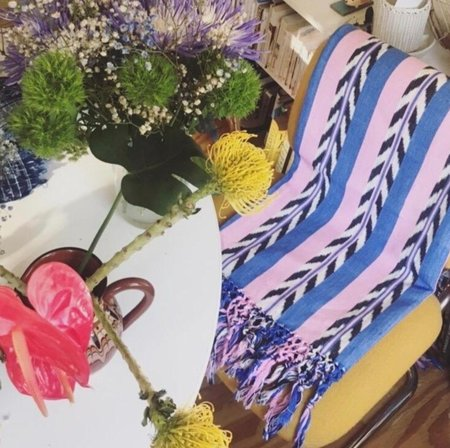 Archive New York: Palm Ikat Blanket - Blue/Pink