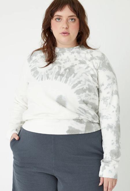 Back Beat Co. Hemp Fleece Cropped Sweatshirt - Cement Tie Dye