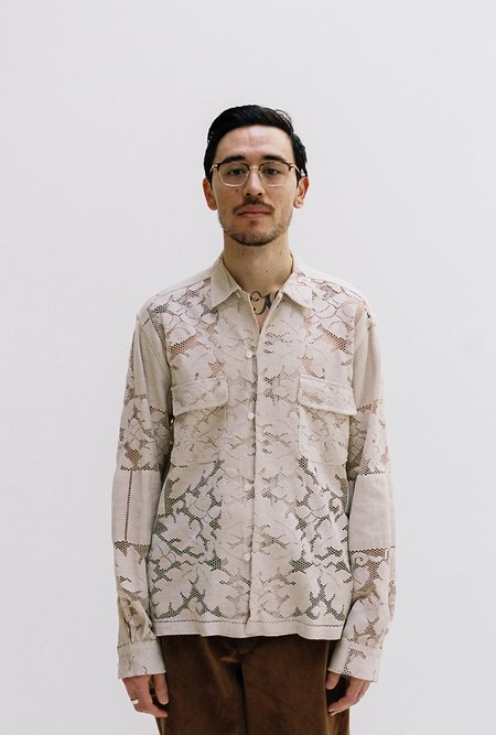 BODE One of a Kind Quaker Lace Long Sleeve Shirt - Ecru