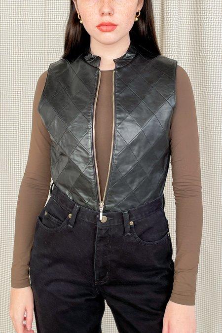 Vintage Checkered Paneled Leather Vest - black
