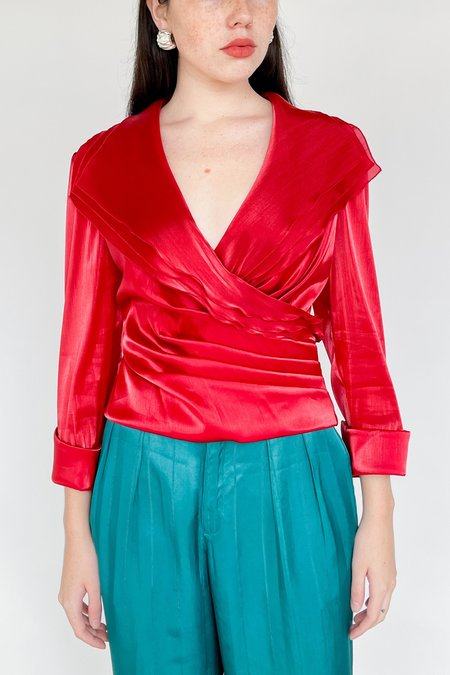 Vintage Organza Layered Top - Candy Red