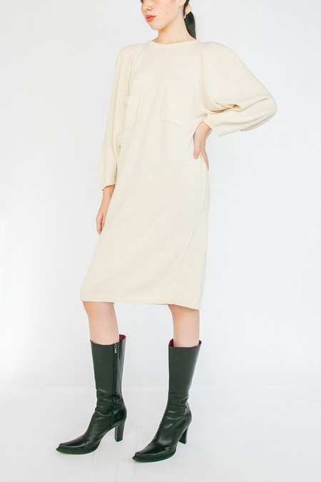 Vintage Silk Knit Sweater Dress - Cream