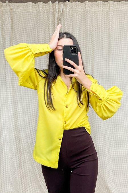 vintage Bishop Sleeve Blouse - yellow