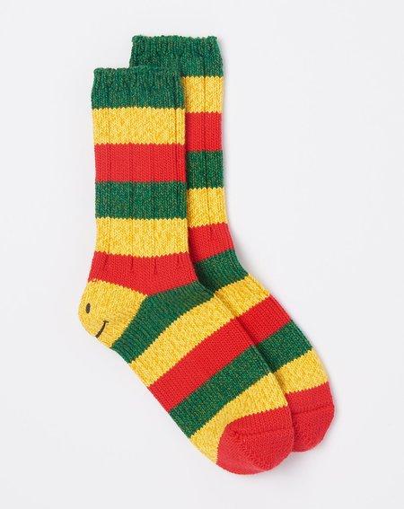 unisex Kapital Rasta Smilie Socks - Red