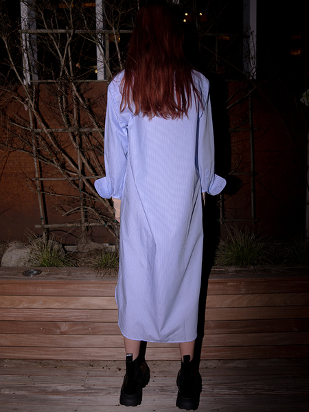 Baserange Ole Shirt Dress - Light Blue Stripe