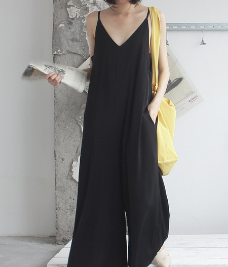 OPUSION Wide-Leg Slip Jumpsuit - Black