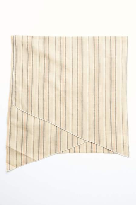 Engineered Garments Long Scarf - Beige Variegated Stripe Cotton Lawn