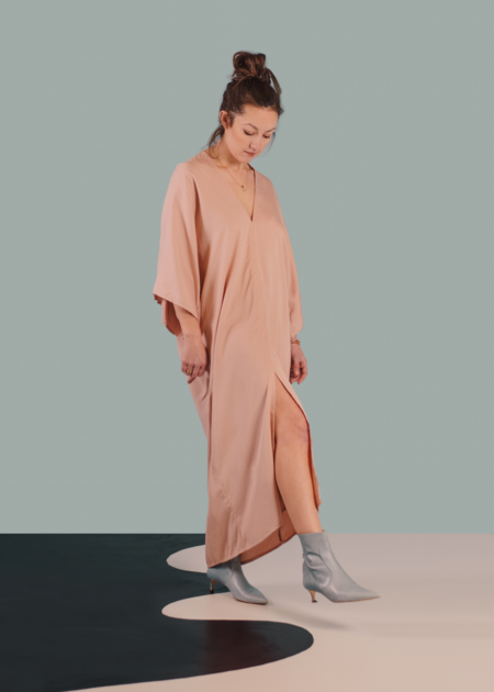 m e ç l â The Nina Dress in Tencel - Rose Quartz