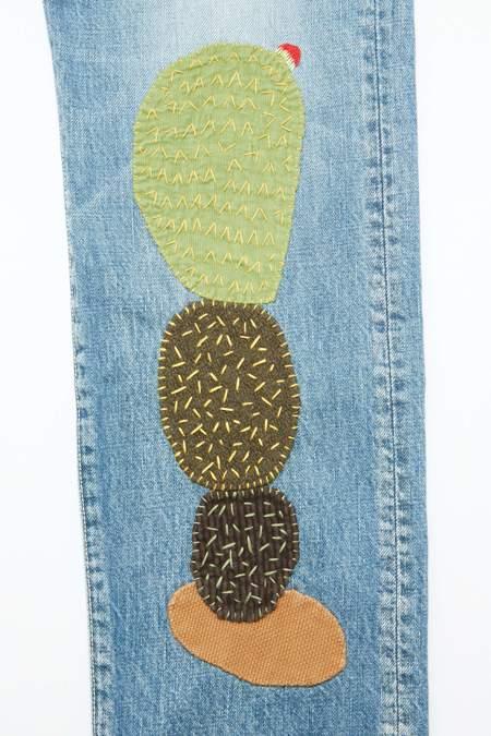 Kapital Cactus Embroidery 5P Monkey Cisco 14oz Denim - Indigo