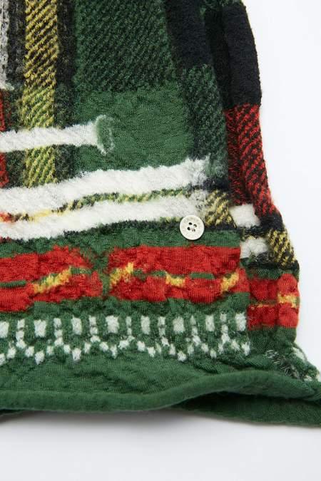 Kapital Compressed Wool  AINU TARTAN Scarf - Green