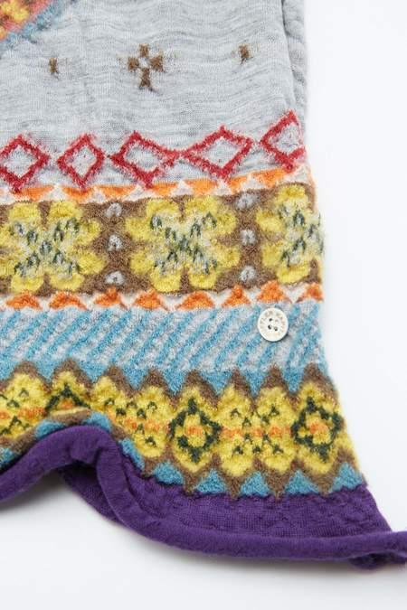 Kapital Compressed Wool FIVE RINGS Scarf - Grey