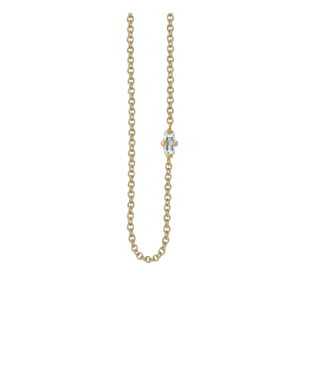 Lizzie Mandler Floating Necklace with White Diamond Baguette - Yellow Gold