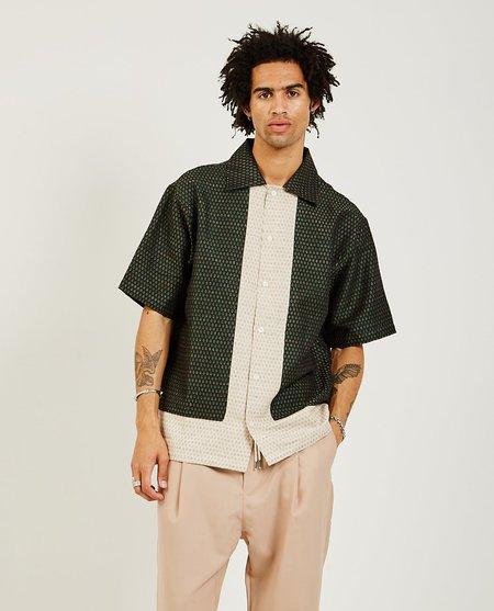Drôle de Monsieur Linen Yoked Shirt - Green/Cream