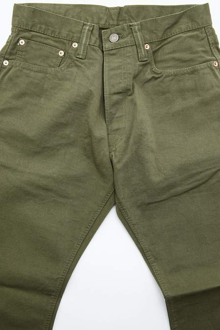 Pure Blue Japan Woven 12oz Selvedge Twill Chino Relaxed Tapered Wash - Olive