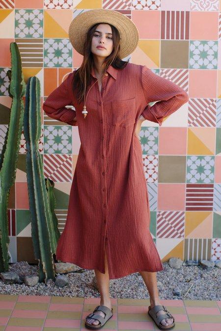 Rachel Pally Amerie Gauze Shirt Dress - Persimmon