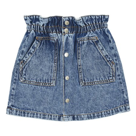 Kids Hundred Pieces Stonewashed Denim Mini Skirt