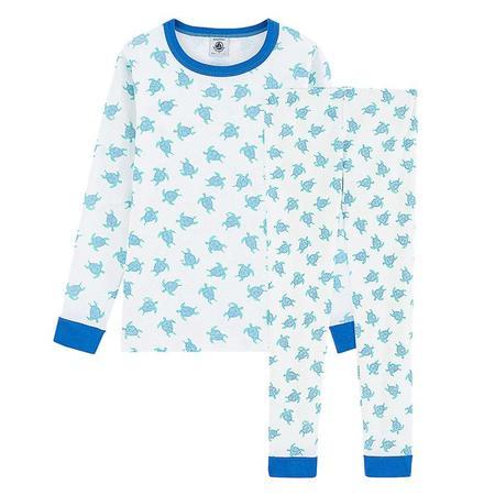 kids Petit Bateau Child Marly Long Sleeved Turtle Print Pyjamas - Blue