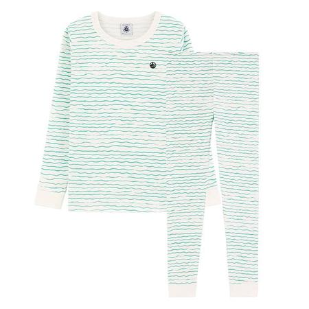 kids Petit Bateau Child Menthe Waves Print Pyjamas - Green